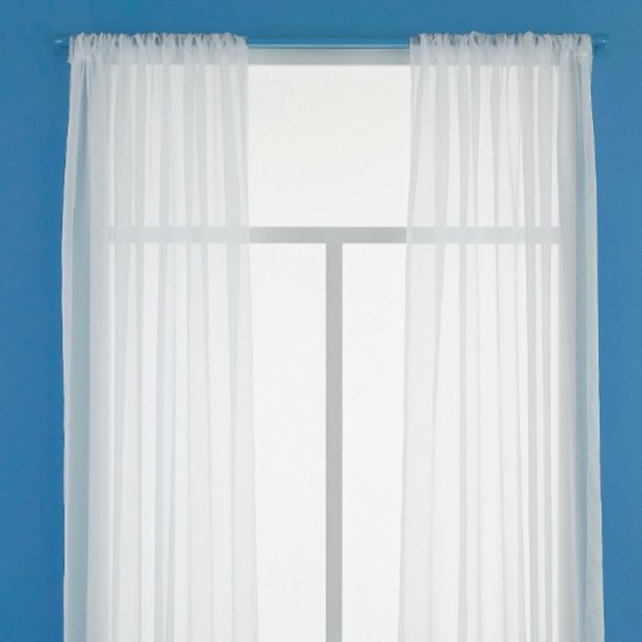 White Voile Sheer Curtain Panel 60x63 Rod Pocket